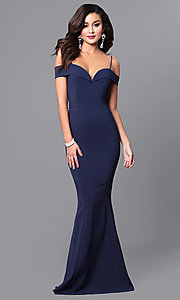 Image of long sweetheart neckline off-the-shoulder prom dress. Style: MCR-1562 Detail Image 1