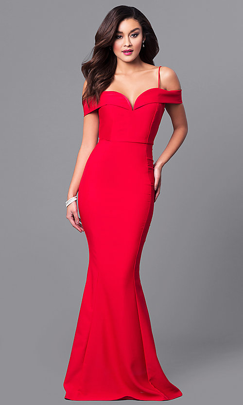 Image of long sweetheart neckline off-the-shoulder prom dress. Style: MCR-1562 Front Image