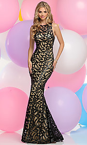 Long Prom Dress with Vinyl Print Design