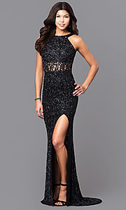 Open Back Bead and Sequin Prom Dress