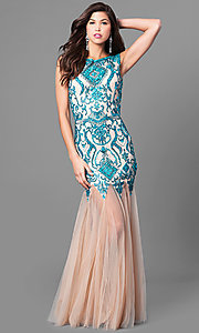 Long Open Back Prom Dress with a Sheer Skirt