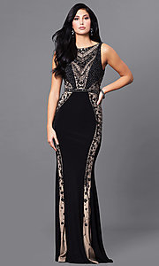 Black Long Prom Dress with Beading