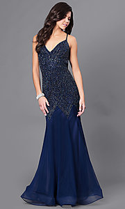 Beaded V-Neck Trumpet Skirt Prom Dress