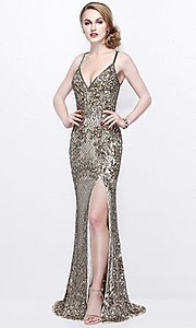 Low V-Neck Open Back Beaded Prom Dress