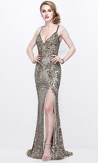 Gold Prom Dresses- Gold Formal Gowns