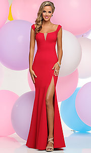 Long Prom Dress with Wide Scoop Neck