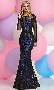 Long Sleeve Prom Dress with Long Trumpet Skirt