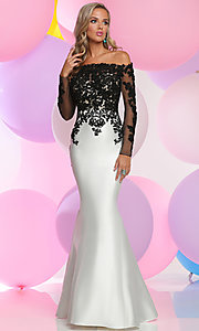 Prom Dress with Long Sleeve Off-the-Shoulder Lace Bodice