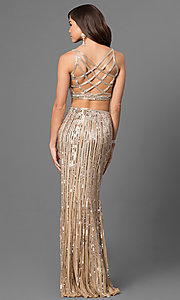 Long Sequin Two-Piece V-Neck Prom Dress