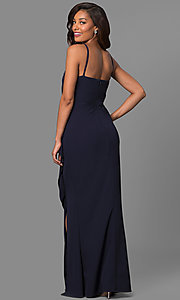 Image of navy ruched long prom dress with square neckline. Style: JU-MA-262909 Back Image