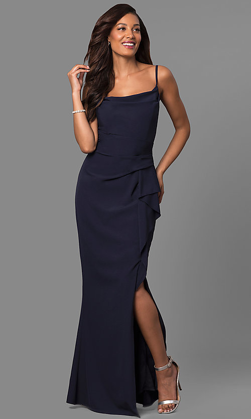 Image of navy ruched long prom dress with square neckline. Style: JU-MA-262909 Front Image