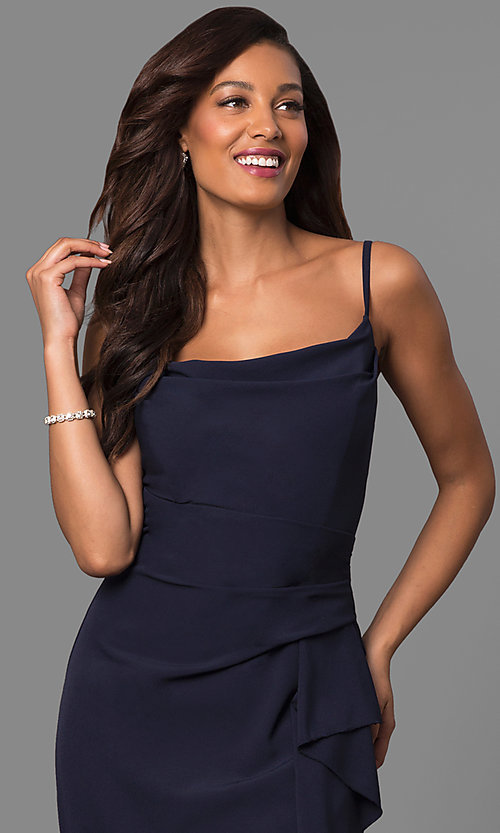 Image of navy ruched long prom dress with square neckline. Style: JU-MA-262909 Detail Image 1