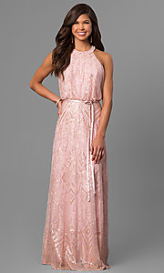 Image of long sequin-accented prom dress with blouson top. Style: JU-MA-263346 Front Image