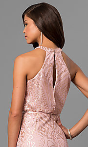 Image of long sequin-accented prom dress with blouson top. Style: JU-MA-263346 Detail Image 2