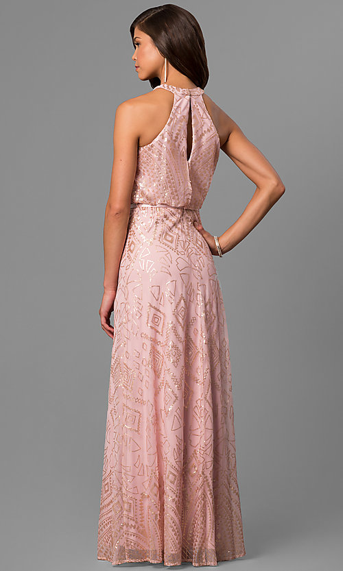 Image of long sequin-accented prom dress with blouson top. Style: JU-MA-263346 Back Image