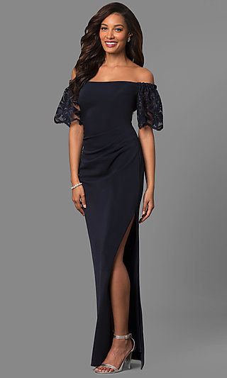 Long Off-Shoulder Prom Dress with Lace Bell Sleeves