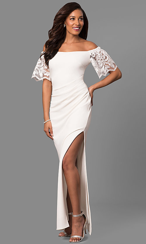 Image of long off-shoulder prom dress with lace bell sleeves. Style: JU-MA-263509 Detail Image 2