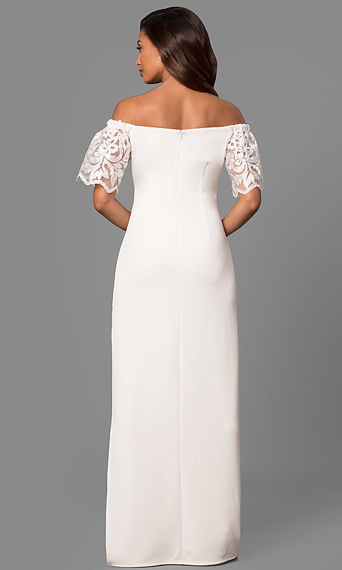 Image of long off-shoulder prom dress with lace bell sleeves. Style: JU-MA-263509 Detail Image 1