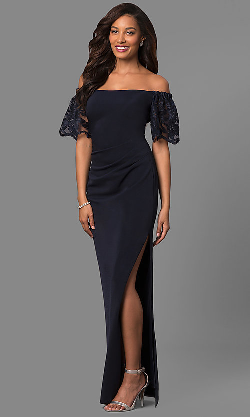 Image of long off-shoulder prom dress with lace bell sleeves. Style: JU-MA-263509 Front Image