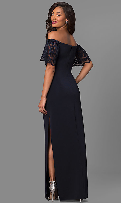 Image of long off-shoulder prom dress with lace bell sleeves. Style: JU-MA-263509 Back Image