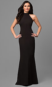 Image of black long high-neck prom dress with cut-out back Style: JU-MA-263527 Front Image