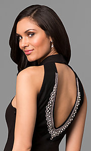 Image of black long high-neck prom dress with cut-out back Style: JU-MA-263527 Detail Image 1