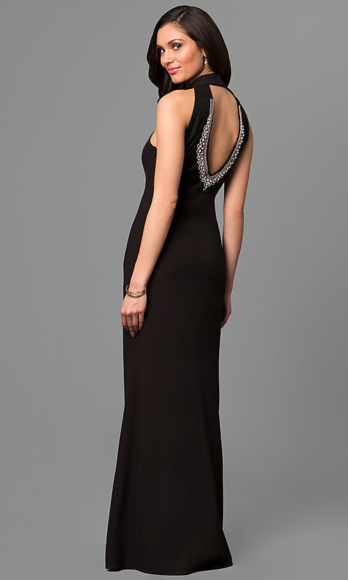 Image of black long high-neck prom dress with cut-out back Style: JU-MA-263527 Back Image
