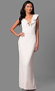 Long White V-Neck Formal Dress with Ruffled Collar