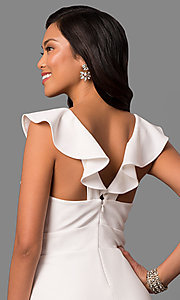 Image of long white v-neck formal dress with ruffled collar. Style: JU-MA-263543 Detail Image 2