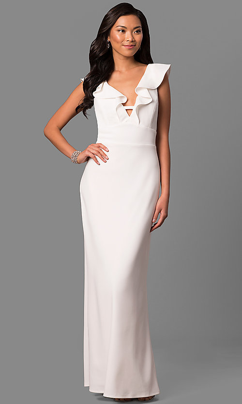 Image of long white v-neck formal dress with ruffled collar. Style: JU-MA-263543 Front Image