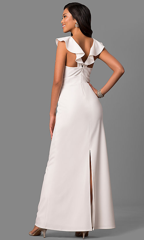 Image of long white v-neck formal dress with ruffled collar. Style: JU-MA-263543 Back Image