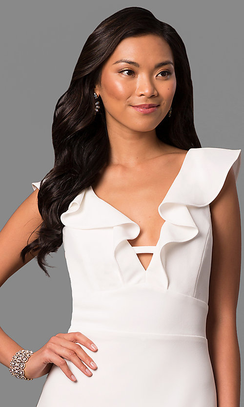 Image of long white v-neck formal dress with ruffled collar. Style: JU-MA-263543 Detail Image 1