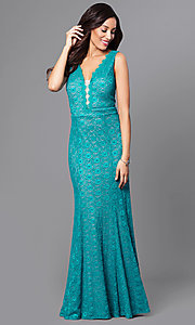 Lace Teal Green Long Prom Dress