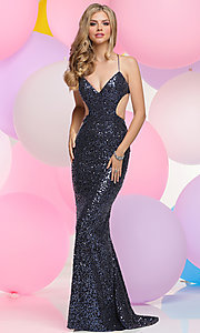 Sequin Long Prom Dress with Open Back and V-Neck