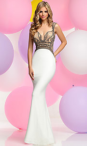 Open Back Prom Dress with Beaded Illusion Bodice