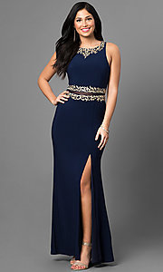 Long Prom Dress with Gold Embroidery Details