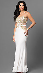 Strapless Long Prom Dress with Gold Embellishments