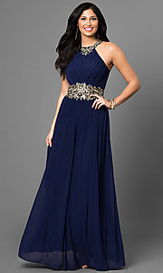 Long Prom Dress with Embroidered Waist Ruched Bodice