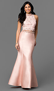 Mock Two-Piece Prom Dress with Lace Bodice