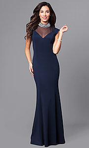Navy Blue Long High-Neck Mother-of-the-Bride Formal Dress