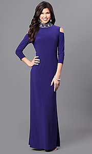 Long Purple Dress with Long Sleeves