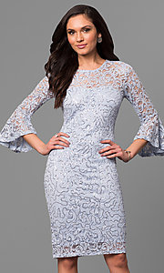 Short 3/4 Bell Sleeve Lace Party Dress