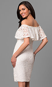 Image of ivory off-the-shoulder short lace graduation dress. Style: JU-MA-263499 Back Image