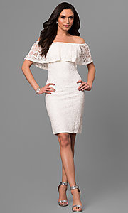 Image of ivory off-the-shoulder short lace graduation dress. Style: JU-MA-263499 Detail Image 1