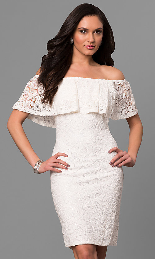 Image of ivory off-the-shoulder short lace graduation dress. Style: JU-MA-263499 Front Image