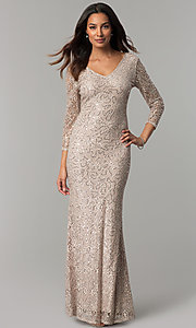 Image of long lace mother-of-the-bride dress with 3/4 sleeves. Style: JU-MA-263560 Detail Image 2
