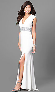 Long Prom Dress with Wide Embellished Waistband