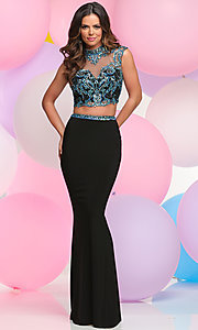 Long Two-Piece Prom Dress with Embellished Bodice