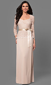 Long Lace Bodice 3/4 Sleeve Mother-of-the-Bride Dress