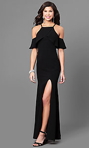 Image of off-the-shoulder long black prom dress with ruffles. Style: SS-X34761GKW Front Image